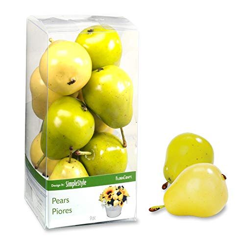 FloraCraft 9 Piece Decorative Mini Fruit Yellow/Green Pear ()