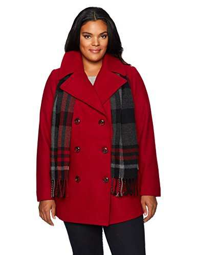 London Fog Women's Plus-Size Double Breasted Peacoat with Scarf, red, ()