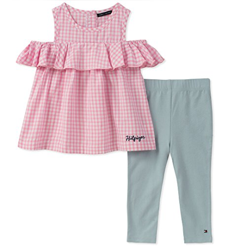 Tommy Hilfiger Baby Girls Fashion Tunic Set, Pink/White, 18M (Tommy Hilfiger Tunic)
