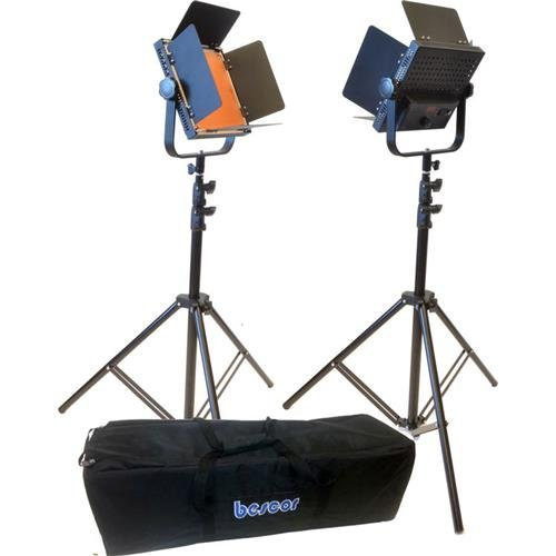 Bescor AL-576K Daylight LED Studio 2-Light Kit, Includes 2x Barndoor Systems, 2x AC Adapters, 2x Light Stands and Carry Bag Bescor Led
