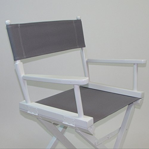 EMBROIDERED Gold Medal Contemporary 30'''' Bar Height White Frame Directors Chair - Grey by TLT