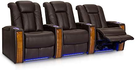 Seatcraft Monaco Leather Power Recline Home Theater Seating Chairs Powered by SoundShaker Row of 3, Brown