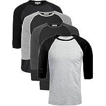 TL Men's Basic Crew Neck Cotton 3/4 sleeve Essentail Raglan Baseball Tee Shirts