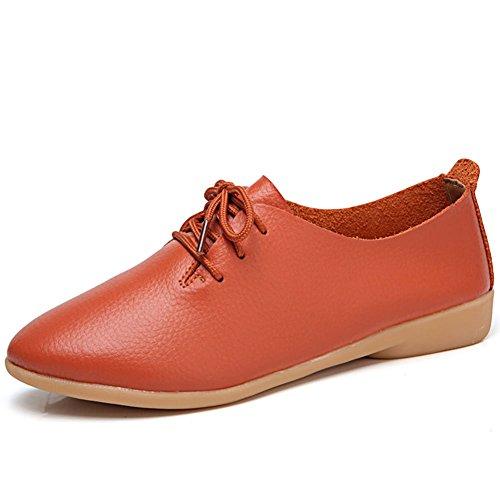 para DoraTasia de 1 Mujer de Zapatos Orange Cordones Cuero XTqwTOBx