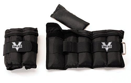 VALEO Ankle/Wrist Weights (1 pair) with Adjustable Straps and Soft Padding for Comfort - 5lb (2.5lb each), 10lb (5lb each), or 20lb (10lb each)