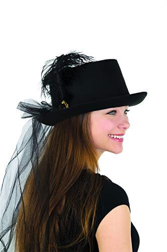 Womens Deluxe Black Felt Top Hat with Plume & Veil Halloween Costume Accessory - Black Top Deluxe Hat Felt