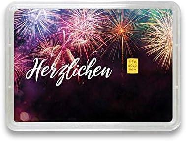 Goldbarren 0,5g – Geschenk Motivbox Herzlichen Glückwunsch – Valcambi ESG - Feingold 999,9 (0,5g Gold)
