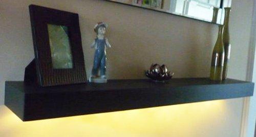 new black handmade wooden floating shelf shelves with led lights