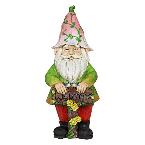 Exhart Colorful Gnome w/Welcome Sign Resin Statue - Handcrafted Gnome Garden Statue Holding a Welcome Wooden Sign - Gnome Decor in Hand-Painted Colors - Best as a Fairy Tale Home Decor, 12 Inches (Garden Wooden Statues)