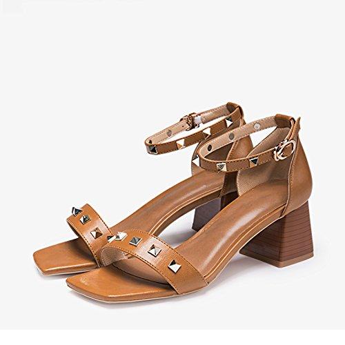 JIANXIN Damen Frühjahr Und Sommer Vintage Mit Willow Stapelsandalen In Mode Mit Vintage Fett Und Schnalle Schuhe. (Farbe   Gelb größe   36) 7bde13