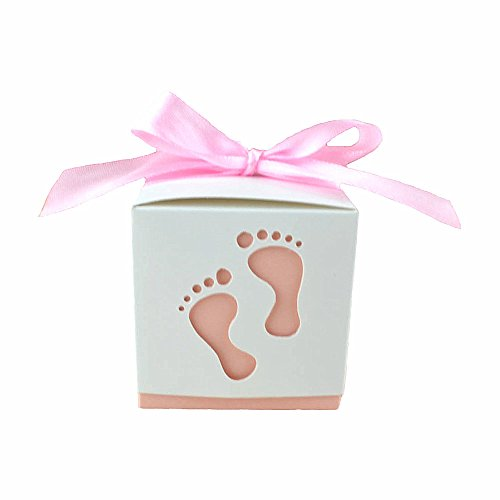 Crazy Night 50PCS Laser Cute Baby Shower Party Birthday Decorations Gift Boxes Wedding Favor Ribbons Candy Boxes Candy Box feet Shape Party (Pink)