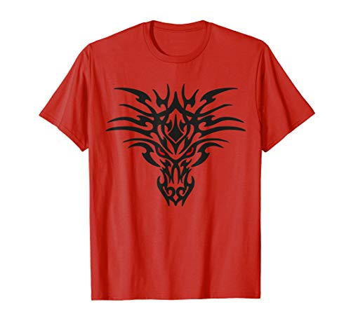 Tribal Dragon Head T Shirt Tattoo Cute Black Design Red Eyes ()