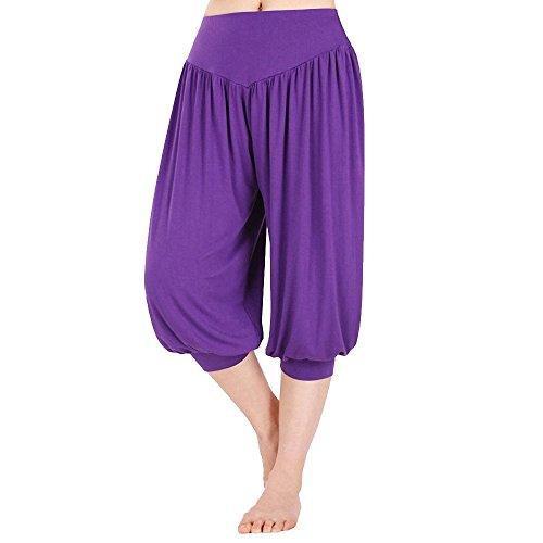 Viola Aladdin Pantaloni Pantaloni Minetom Grigio sportivi 1 stile vita 2 Yoga in Donne scuro harem larga elastica fascia AqAfXawxE