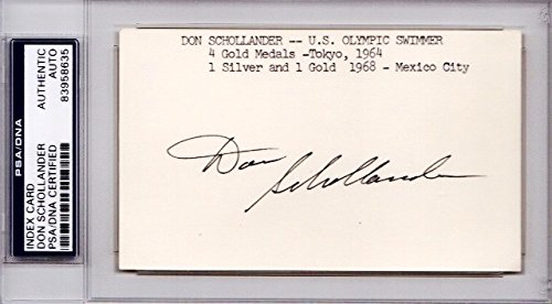 Don Schollander Autographed Signed Olympic Swimmer 3x5 Inch Index Card - 5x Gold Medalist - PSA/DNA Authenticity (COA) - PSA Slabbed Holder from Sports Collectibles Online