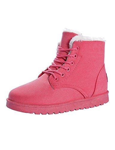 begorey Damen Winter Schneestiefel Winterstiefel Stiefeletten Schlupfstiefel Boots Warm Pelz Stiefel Gefütterte Rot