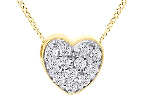Diamond Pave Petite - Jewel Zone US Mothers Day Jewelry Gifts Pave Natural Diamond Petite Heart Pendant Necklace in 14K Solid Yellow Gold (1/4 Ct)