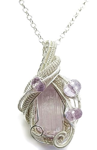 Wire-Wrapped Pink Kunzite Crystal Pendant in Tarnish-Resistant Sterling Silver with Amethyst