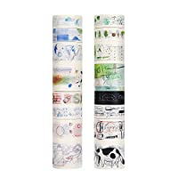 Molshine 16rolls(3.3yd/roll) Washi Masking Tape,Adhesive Paper,Cute Tape for DIY,Planners,Scrapbooking,Object Beautification,Home Furnishing Decor,Party,Gift Wrapping-Yearning for Life Series