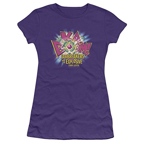 Trevco Dubble Bubble Ka Boom Juniors' Sheer Fitted T Shirt, Small Purple