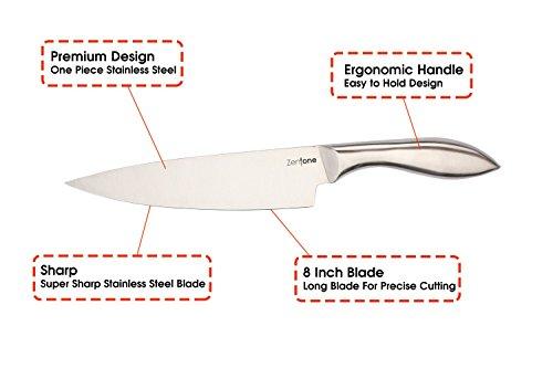 kitchen knife professional grade chefs knife stainless steel 8 inch blade zentone home garden. Black Bedroom Furniture Sets. Home Design Ideas