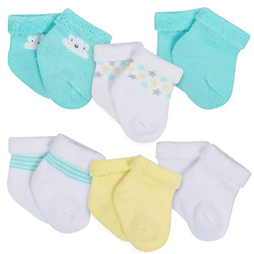 Gerber Baby 6-Pair Wiggle Proof Sock, Clouds, 0-3 Months]()
