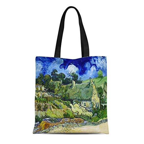 Semtomn Cotton Line Canvas Tote Bag Blue Post Vincent Van Gogh Thatched Cottage at Colorful Reusable Handbag Shoulder Grocery Shopping ()