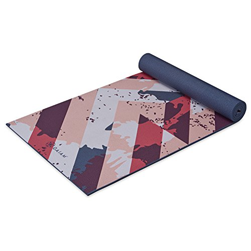 Gaiam Yoga Mat Premium Print Extra Thick Non Slip Exercise & Fitness Mat for All Types of Yoga, Pilates & Floor Exercises, Retro Rhythm, 6mm