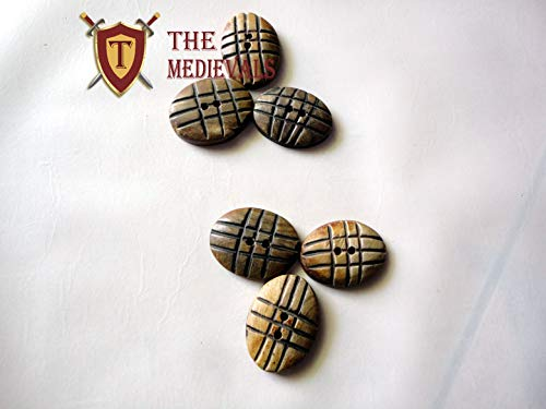 Medieval Hand Made Horn Button Set of Six