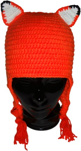 Authentic Soul Orange Crochet Fox Ears Earflap -