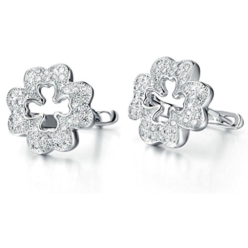 ings Silver Plated Four Leaf Clover Round White Zirconia Crystal Earrings for Women, AnaZoz Jewelry (4mm Round Clover Earrings)