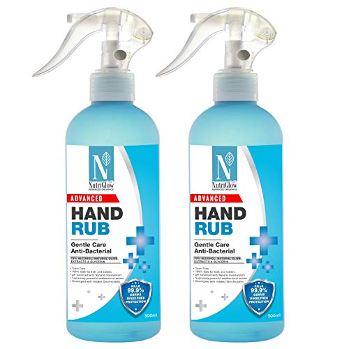 NutriGlow Advanced Organics Combo of 2 70%(v/v) Alcohol Based Hand Sanitizer Liquid hand rub for Disinfectant Hand…