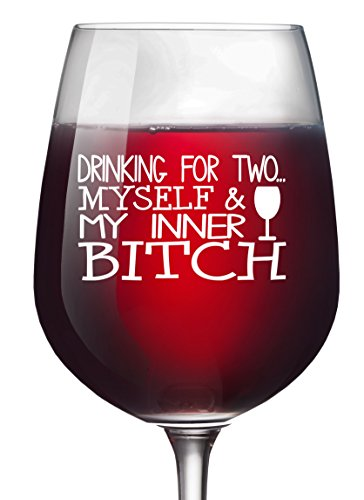 Funny Drinking for Two Wine Glass 13 oz - Mothers Day Unique Novelty Christmas Gifts for Women Birthday Gifts For Men Wife Girlfriend Sister Boss Best Friend BFF Coworker or Daughter Retirement Party