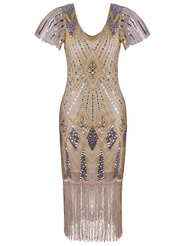 Vijiv Vintage 1920s Drop Waist Flapper Dress with Sleeves V Neck Beaded Great Gatsby Dresses Roaring 20's for Women, Champagne, -