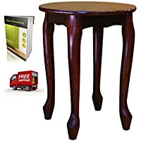 Sturdy Classic Wood Living Room Hand Painted Round End Table Finish Dark Cherry And E –Book By TSR