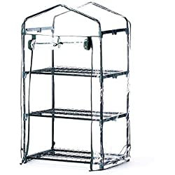 Worth Mini Greenhouse (All New) - New Metal Green Version with 3 Tier COLLAPSABLE Shelves - Best Greenhouse with ROLL UP Zipper Door Seedlings & Seed Propagation Plant Growing - 3 Year Guarantee