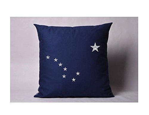 Alaska Flag Pillowcases - Navy Blue Cushion cover - Pillow Cover - Cushion Pillow - Cushion Cover - 16x16 - Gift for Friend (Wicker Ikea Dog Bed)