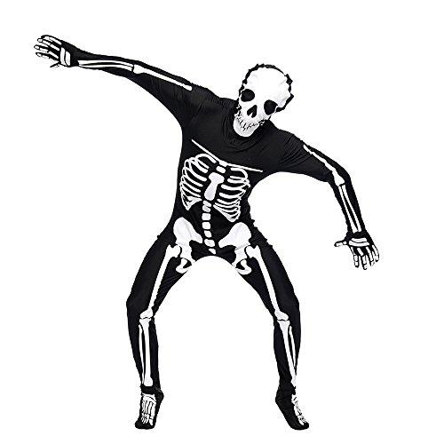 POP Style Men's Skeleton Leotard Skull Print Bodysuit Skull Halloween Cosplay (M) ()