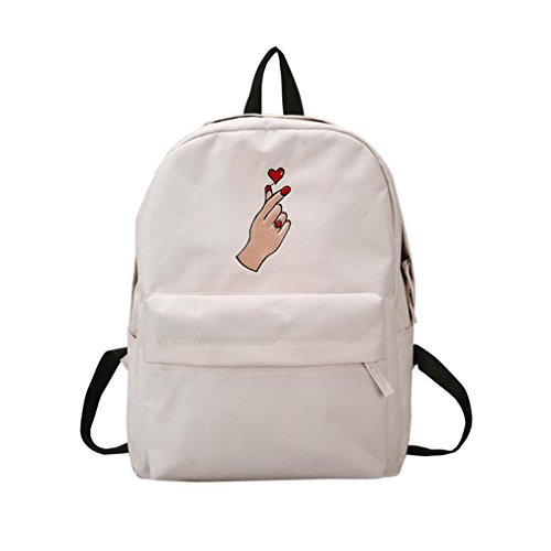 Lisin Backpack Shoulder Bookbag School Bag Women Girls Embroidery School Bag Travel Backpack Bag (White 2)