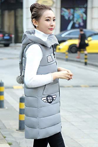 Sleeveless Grau Cozy Long Down Warm Winter Side Hooded Overcoat Women Pockets Zipper Retro with Cozy Vest Vests qOqwn1aX