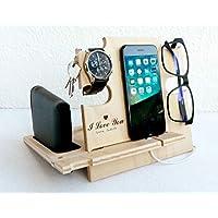 Docking Station Grabada I Love You, Regalo para él - Organizador de escritorio para hombres de madera