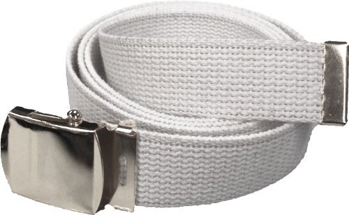 100% Cotton Military 54'' Web Belt (White Belt w/Chrome Buckle) by Army Universe