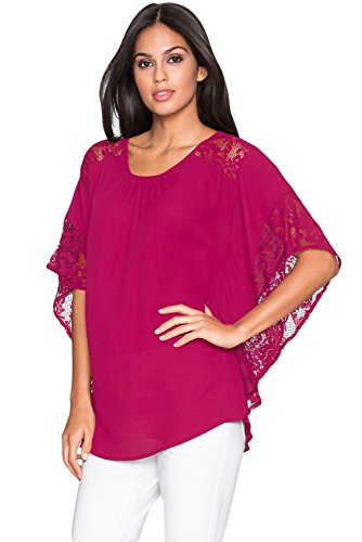 Designer97 Women's Loose Casual Tops Lace Splice Batwing Sleeve Chiffon Blouse Rose Plus Size ()