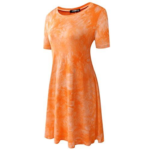 Allentata Tunica Dye Della A Maglietta Delle Donne Casuale Tie Città Zero Arancione Abiti 54BqAw