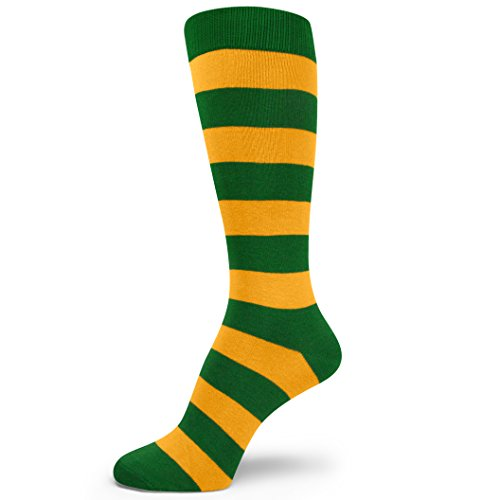 Spotlight Hosiery Two Color Striped Mens Dress Socks,Green/Gold Yellow
