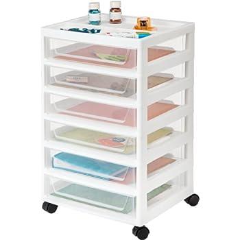 IRIS 6-Drawer Scrapbook Cart with Organizer Top, White