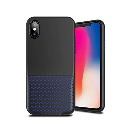 Cocomii Duo Lightning Audio S Armor iPhone Xs/X Case New [Dual Lightning Jack Adapter Case] Call+Audio+Charger Cover [No Dongles/Cables] Charge and Listen to Music for iPhone Xs/X (Duo.Black Blue)