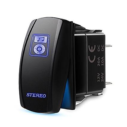 amazon com mictuning ls083601jl stereo rocker switch kit, on offamazon com mictuning ls083601jl stereo rocker switch kit, on off led light, 20a 12v, blue automotive