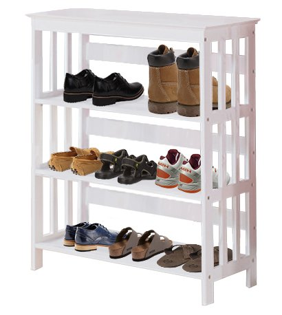 Men's White Finish Large Shoe Rack (Shoes NOT Included). Great for the Closet, Entry Way, or Mud Room!