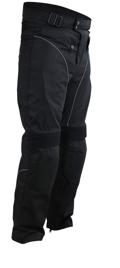 Windproof Riding Pants Black with Removable CE Armor PT1 Mens Motorcycle Biker Waterproof XS