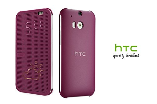 HTC Dot View Interactive Flip Cover Case For HTC One M8 - Magenta/Purple